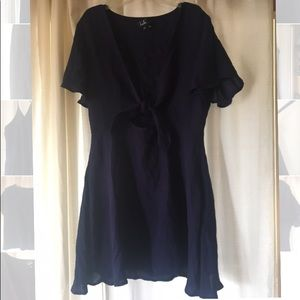 Lulus summer navy blue front tie dress!!